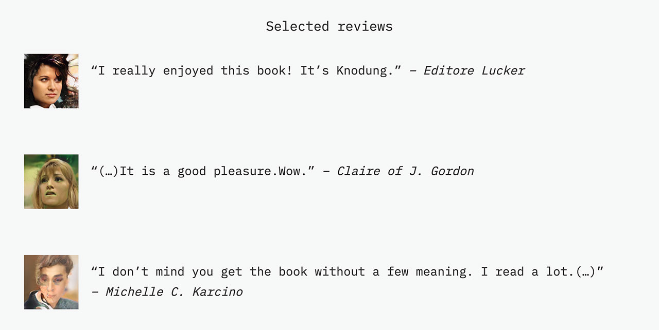 AI generated reviews of the books